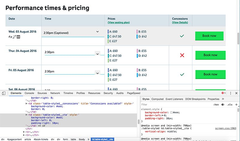 Screenshot of a tabular layout presenting performances and ticket prices being modified using Chrome developer tools